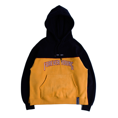 Forever Young Piping Hoodie_Mustard