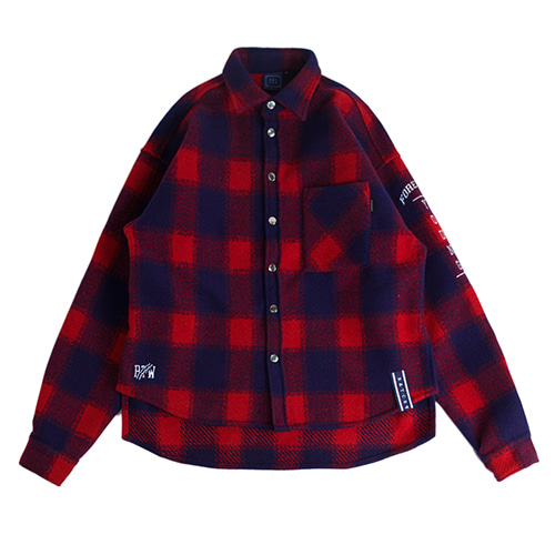 Forever Young Check Shirt Jacket_Red