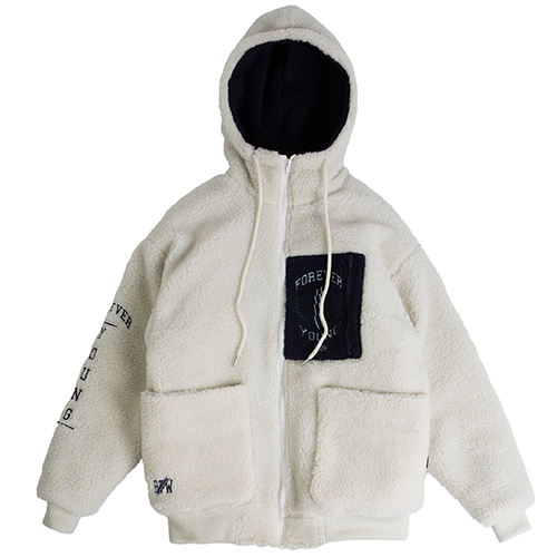 Heavy Fleece Hood Zip Up_Beige