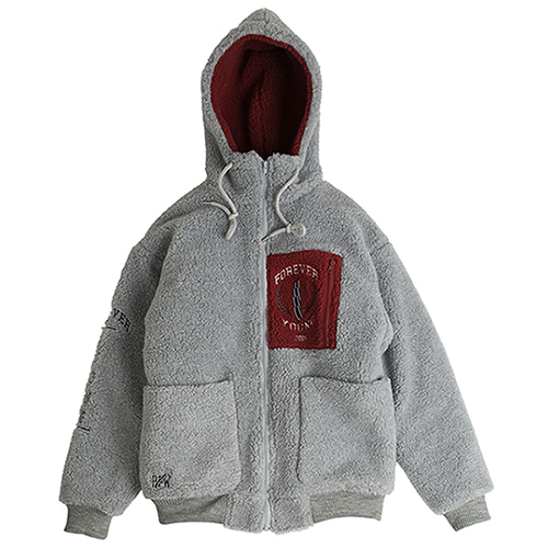 Heavy Fleece Hood Zip Up_Gray