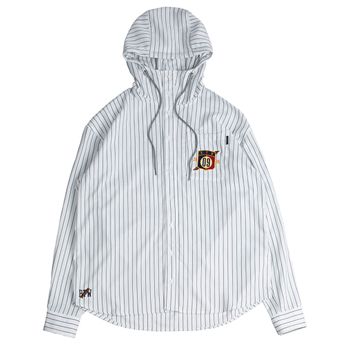 Striped Hood Shirt_White
