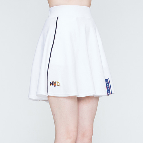 Piping Flare Skirt_White
