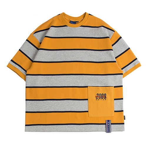 Stripe Pocket T Shirt_Mustard