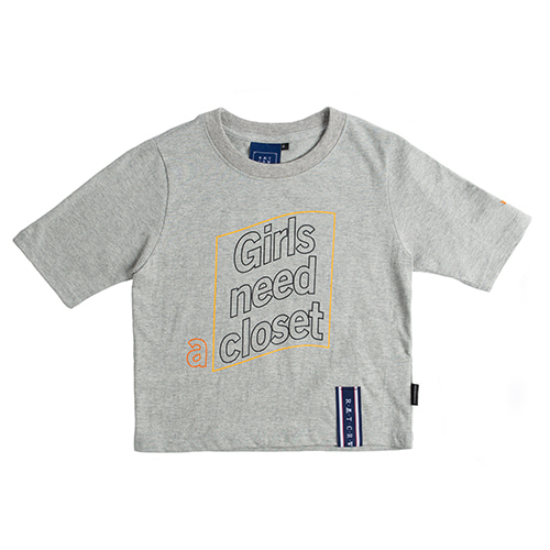 Post Logo Crop T Shirt_Grey