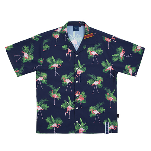 Flamingo Bowling Shirt_Navy