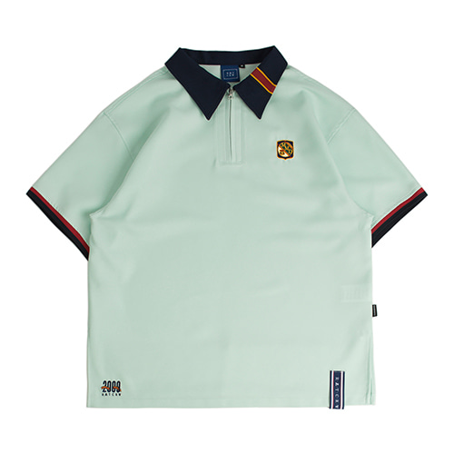 Half Zip Up Bowling Shirt_Sky