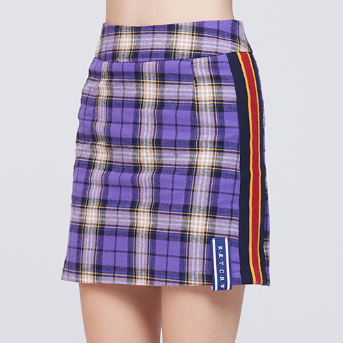 Band line Check Skirt_Purple