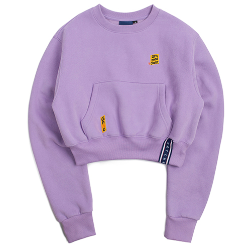 Pocket Crop Sweat Shirt_Purple