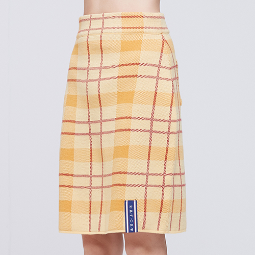 Tartan Check Knit Skirt_Butter