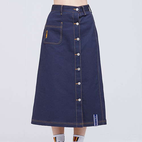 Front Pocket Cotton Skirt_Navy