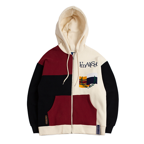 Color Block Hood Zip Up_Navy