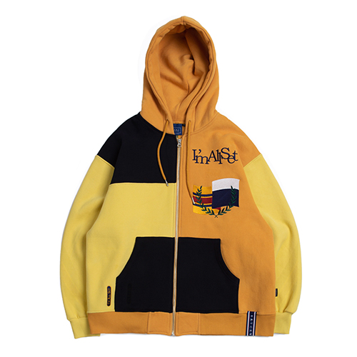 Color Block Hood Zip Up_Butter