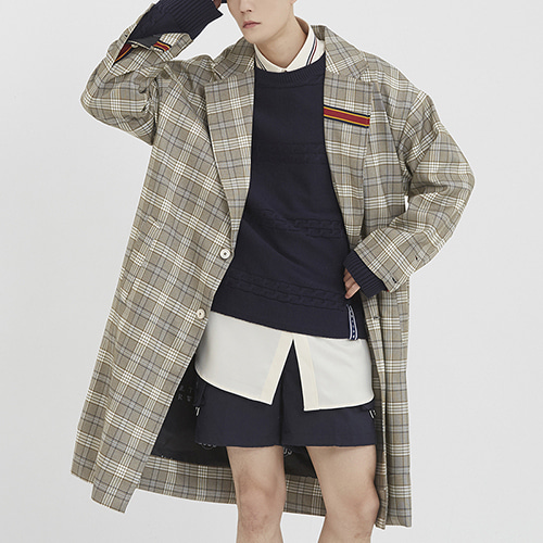 Striped Lapel Check Coat_Grey