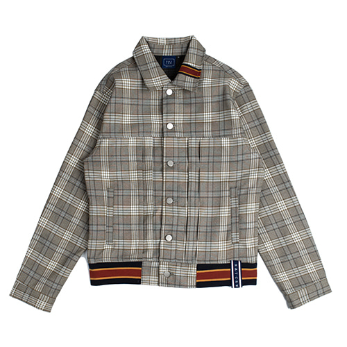 Color Tape Check Jacket_Grey