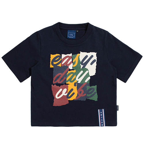 E.D.V Splinter Crop T Shirt_Navy