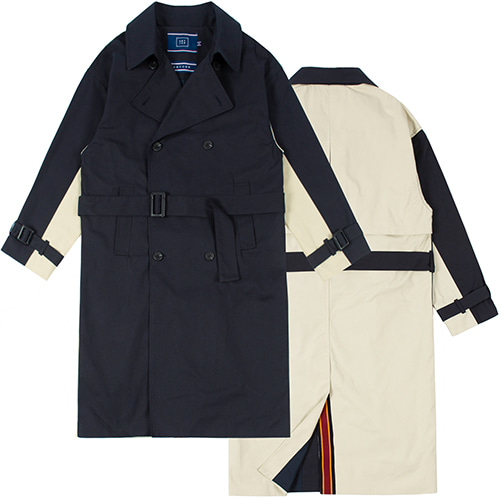 WIDE LAPEL TRENCH COAT_NAVY