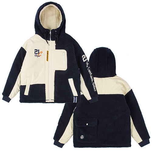 HEAVY LAYOUT FLEECE JUMPER_NAVY