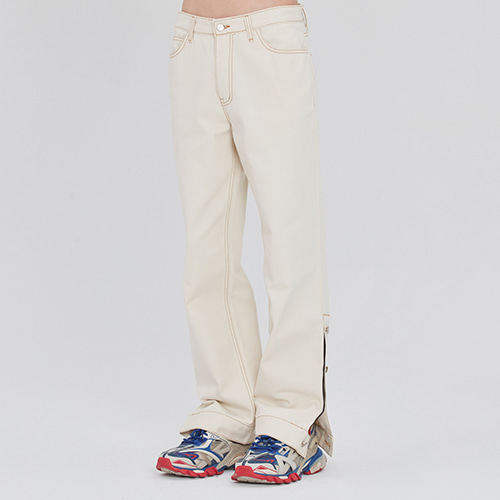 SIDE CUT BUTTON PANTS_OATMEAL