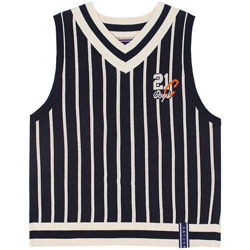 [9/16 예약배송]V NECK STRIPE VEST_NAVY