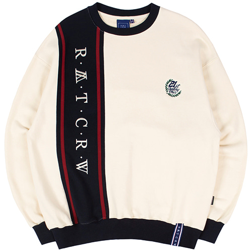 CROSS LINE SWEATSHIRT_OATMEAL