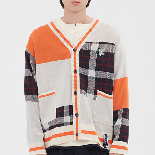SQUARE CHECK KNIT CARDIGAN_ORANGE