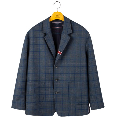 FRIDAY THREE BUTTON CHECK JACKET_BLUE