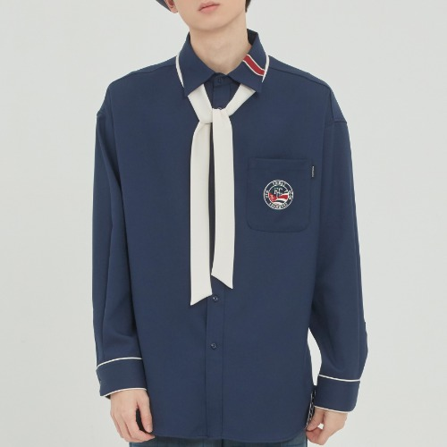 PIPING TIE SHIRT_NAVY