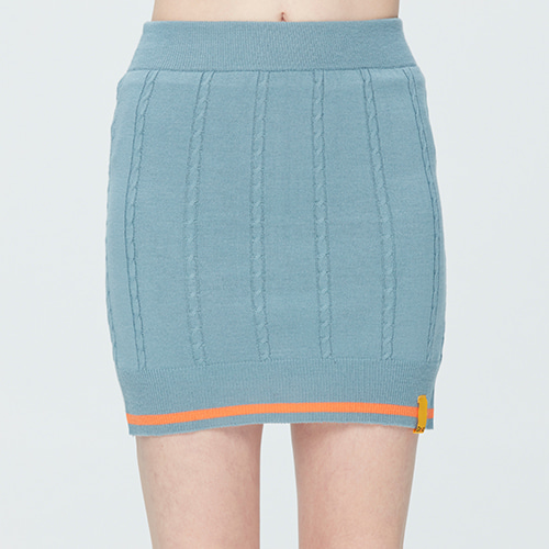 CABLE KNIT SKIRT_LIGHT BLUE