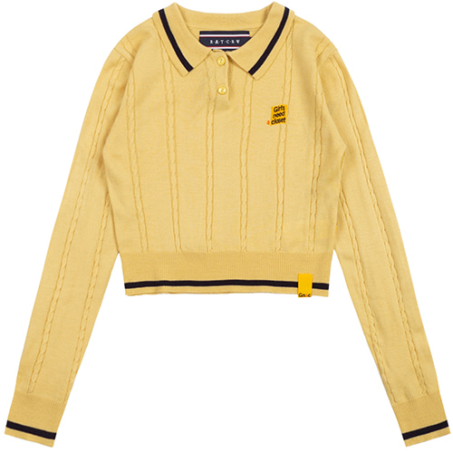 GNAC CABLE KNIT POLO_BUTTER