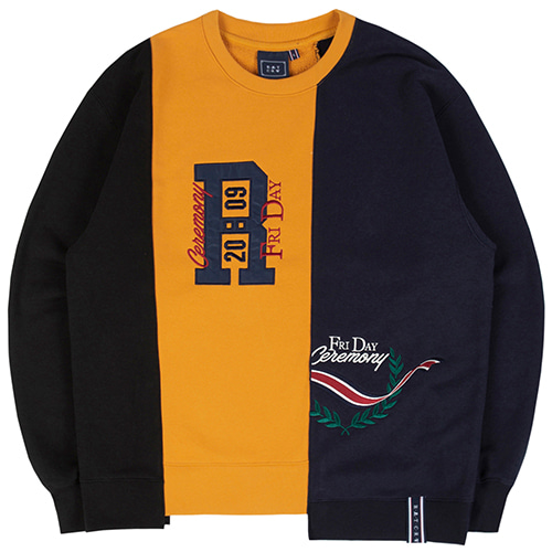 THREE BLOCK SWEAT SHIRT_YELLOW