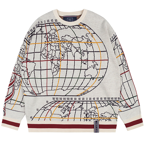 WORLD MAP KNIT_OATMEAL