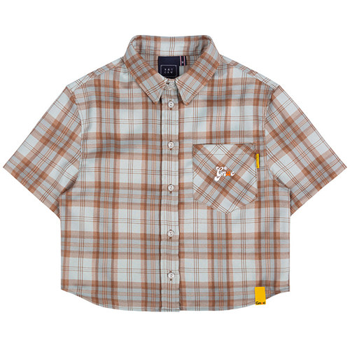 GNAC CHECK HALF SHIRT_BROWN