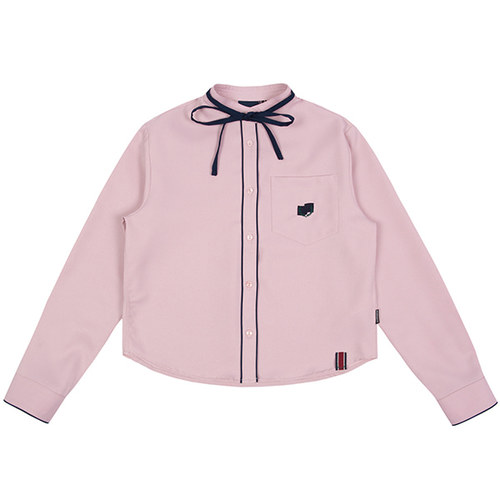 COLLAR RIBBON SHIRT_PINK
