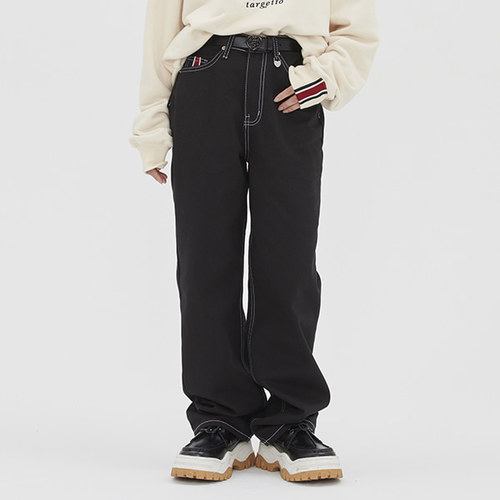 [TGT X RMTCRW]POINT STITCHES JEANS_BLACK