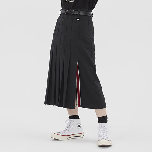 [TGT X RMTCRW]LONG PLEATS SKIRT_BLACK