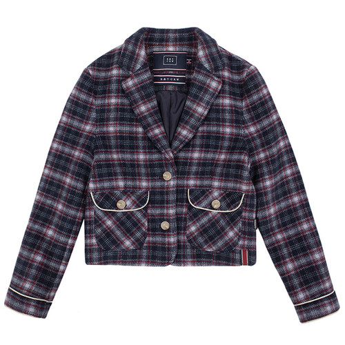 WOMANS CHECK JACKET_NAVY