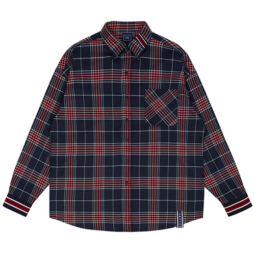 CROSS CHECK CUFFS SHIRT_NAVY