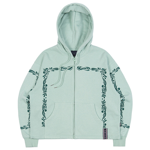 LAUREL FRAME HOODIE ZIP UP_LIGHT GREEN