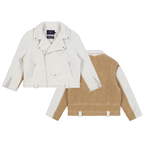 HEAVY FLEECE RIDER JACKET_OATMEAL