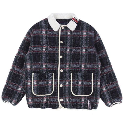 CLASSIC CHECK FLEECE JACKET_NAVY