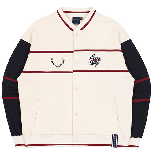 SUNDAY SYNDROME BASEBALL COTTON CARDIGAN_OATMEAL