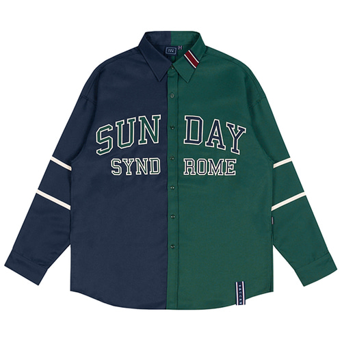 SUNDAY SYNDROME COLOR BLOCK SHIRT_NAVY