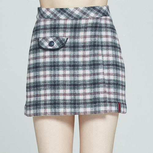 FRONT POCKET CHECK SKIRT_OATMEAL