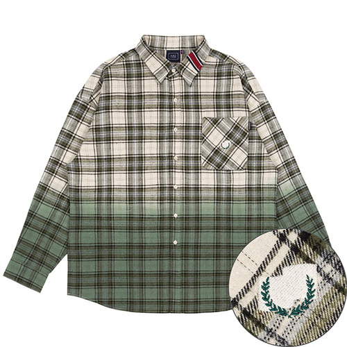 GRADATION CHECK SHIRT_KHAKI