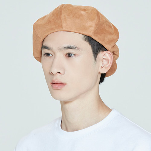 LAUREL LOGO SUEDE NEWS BOY CAP_BROWN