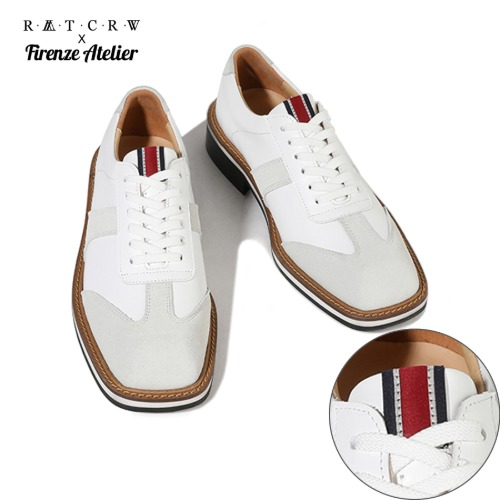 [FIRENZE X RMTCRW]SQUARE TOE GERMAN ARMY SHOES_WHITE