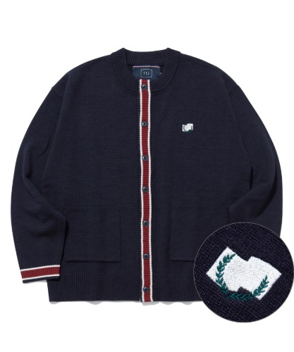 ROUND NECK POCKET CARDIGAN_NAVY