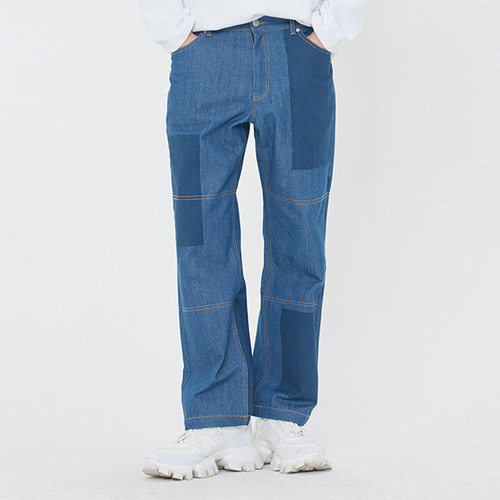 KNEE STITCH DENIM_BLUE