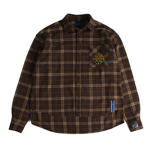 Drop shoulder check shirt_Brown