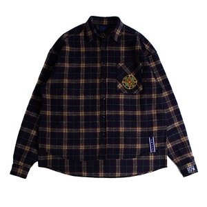 Drop shoulder check shirt_Navy